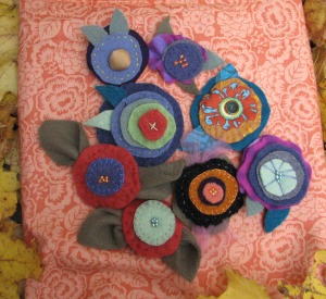 mostly-felt brooches