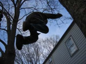 Jumping off of garage roof