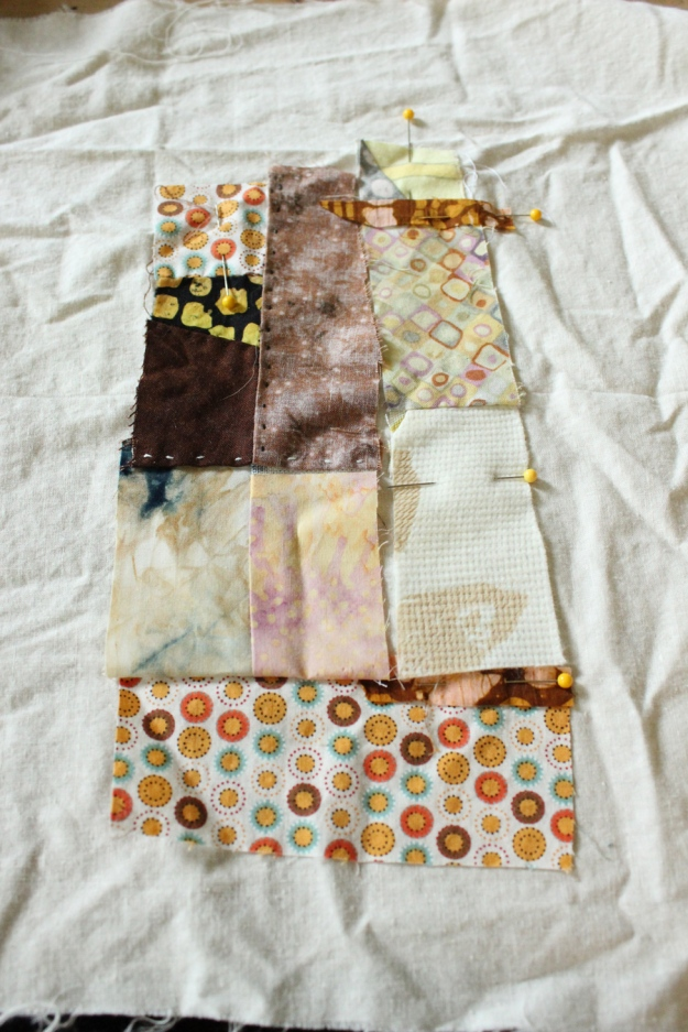 scraps from former quilt - many patches are fabric that I bleached in order to whiten