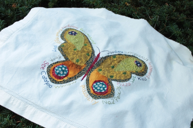 in-process butterfly received a needle woven body