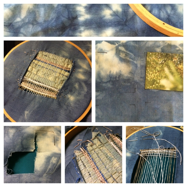one of my indigo cloths with woven opening