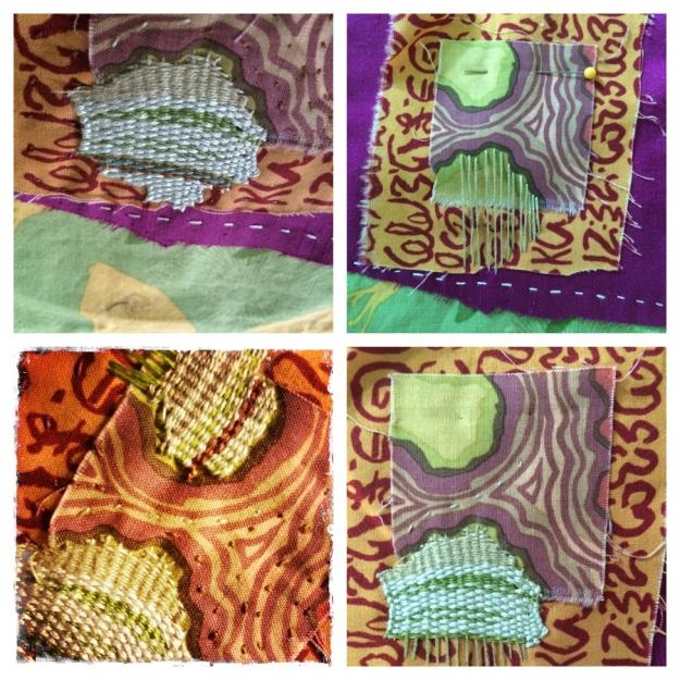 woven 'islands' extending patterning over edge